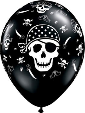 Pirate Skull and Cross Bones Fashion Onyx Black Latex Round 11in/27.5cm