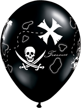 Pirates Treasure Map Fashion Onyx Black Latex Round 11in/27.5cm