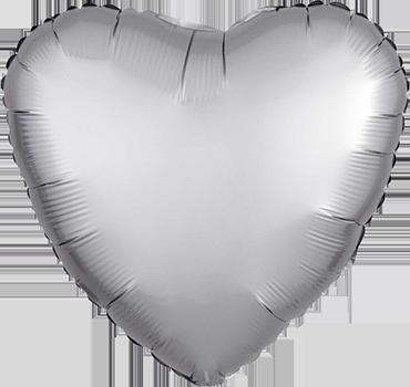 Platinum Satin Luxe Foil Heart 17in/43cm