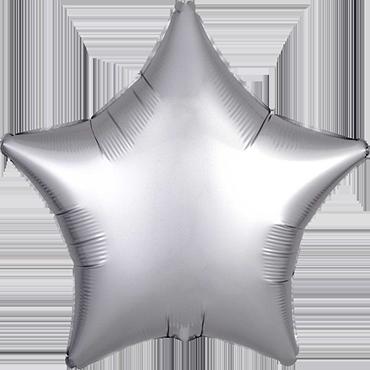 Platinum Satin Luxe Foil Star 17in/43cm