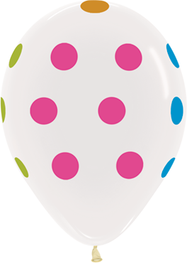 Polka Dots Neon Crystal Clear Latex Round 11in/27.5cm