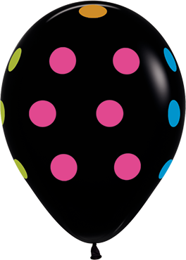 Polka Dots Neon Fashion Black Latex Round 11in/27.5cm