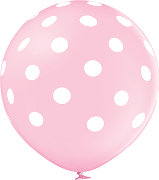 Polka Dots Pastel Pink Latex Round 24in/60cm