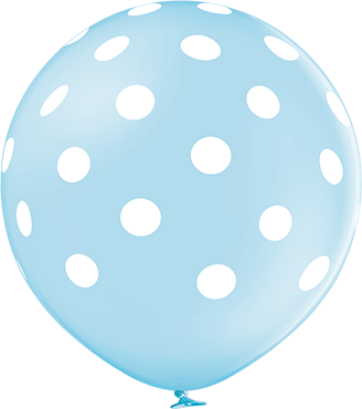 Polka Dots Pastel Sky Blue Latex Round 24in/60cm