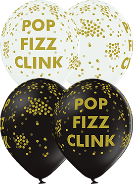Pop Fizz Clink Pastel White and Pastel Black Assortment Latex Round 12in/30cm