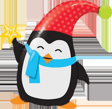 Popular Elfin Penguin Foil Shape 35in/89cm