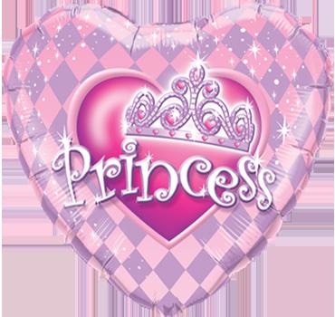 Princess Tiara Foil Heart 9in/22.5cm