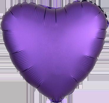 Purple Royale Satin Luxe Foil Heart 17in/43cm