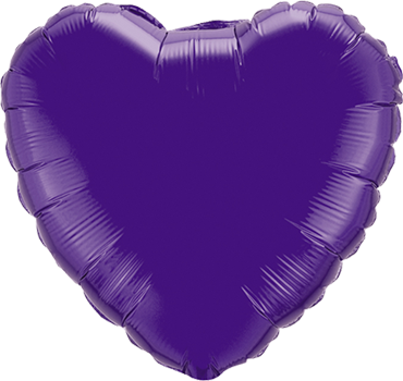 Quartz Purple Foil Heart 4in/10cm