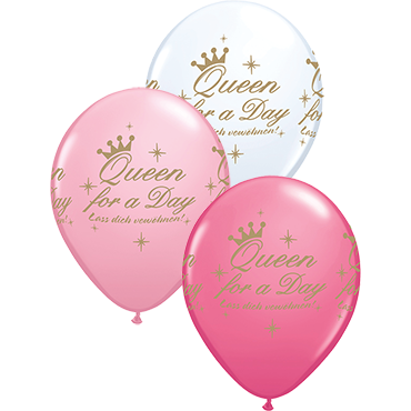 Queen For A Day Standard Pink, Standard White and Fashion Rose Assortment Latex Round 11in/27.5cm