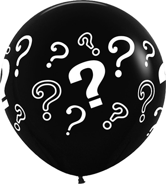 Question Marks Black Latex Round 36in/90cm