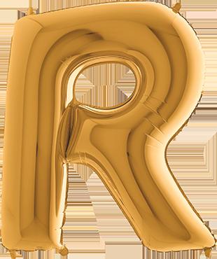 R Gold Foil Letter 7in/18cm