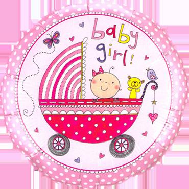 Rachel Ellen - Baby Girl Stroller Foil Round 18in/45cm