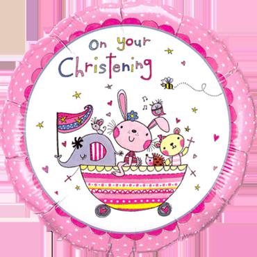 Rachel Ellen - Christening Pink Foil Round 18in/45cm