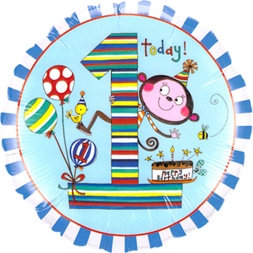 Rachel Ellen – Age 1 Monkey Stripes Foil Round 18in/45cm