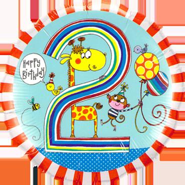 Rachel Ellen – Age 2 Giraffe Stripes Foil Round 18in/45cm