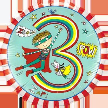 Rachel Ellen – Age 3 Super Hero Stripes Foil Round 18in/45cm