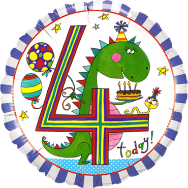 Rachel Ellen – Age 4 Dinosaur Stripes Foil Round 18in/45cm