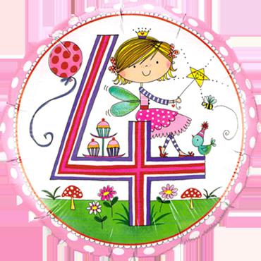 Rachel Ellen – Age 4 Fairy Polka Dots Foil Round 18in/45cm
