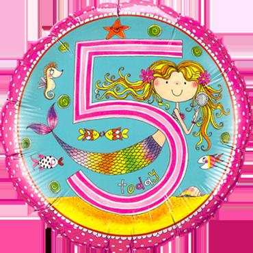 Rachel Ellen – Age 5 Mermaid Polka Dots Foil Round 18in/45cm