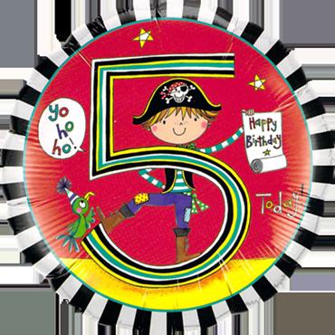 Rachel Ellen – Age 5 Pirate Stripes Foil Round 18in/45cm