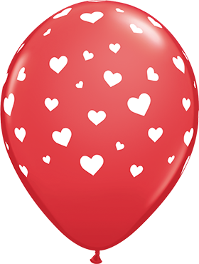 Random Hearts Standard Red Latex Round 11in/27.5cm
