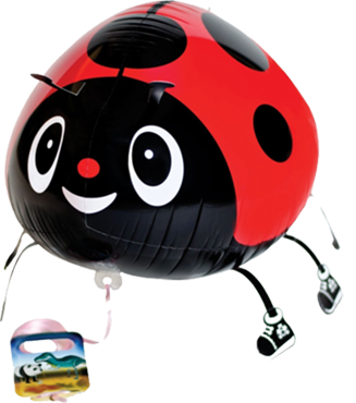 Red Ladybug Airwalker 22in/55cm