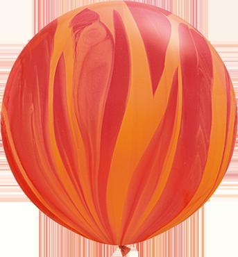 Red Orange Rainbow SuperAgate Latex Round 30in/75cm