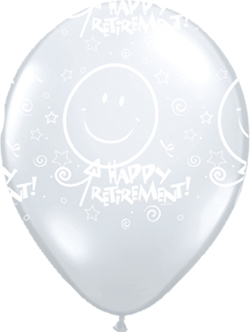 Retirement! Smile Face Crystal Diamond Clear (Transparent) Latex Round 11in/27.5cm