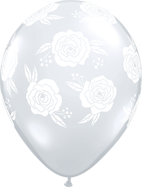 Roses in Bloom Crystal Diamond Clear (Transparent) Latex Round 11in/27.5cm