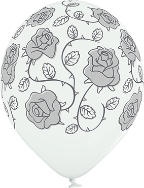 Roses Pastel White Latex Round 12in/30cm