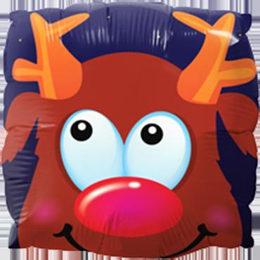 Rudolph Fun Face Foil Square 9in/22.5cm