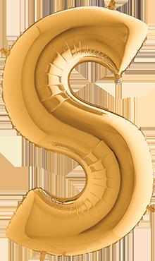 S Gold Foil Letter 7in/18cm