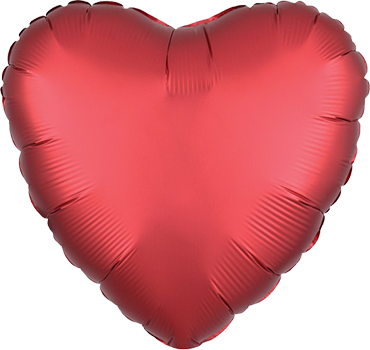 Sangria Satin Luxe Foil Heart 17in/43cm