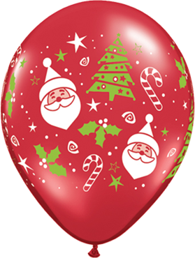 Santa and Christmas Tree Crystal Ruby Red (Transparent) Latex Round 11in/27.5cm
