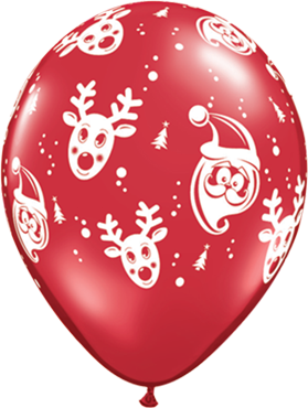 Santa and Rudolph Crystal Ruby Red (Transparent) Latex Round 11in/27.5cm
