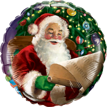 Santa's Christmas List Foil Round 18in/45cm