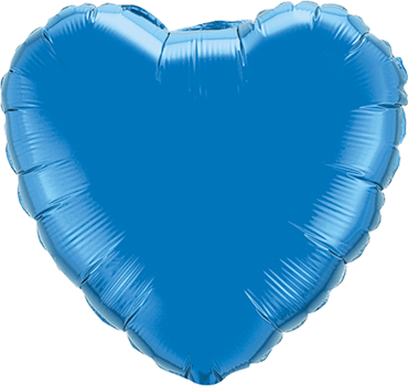 Sapphire Blue Foil Heart 18in/45cm