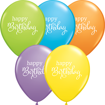 Simply Happy Birthday Bright Pastel Assortment Latex Round 11in/27.5cm
