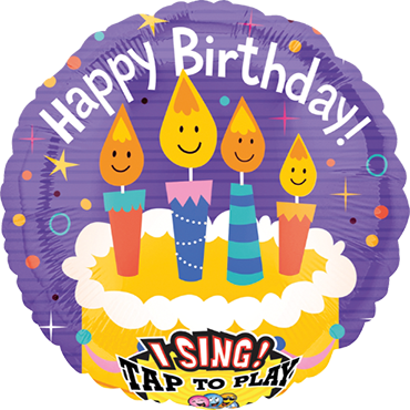 Singing Birthday Candles Sing A Tune Foil Round 28in/71cm