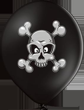 Skull and Crossbones Pastel Black Latex Round 12in/30cm