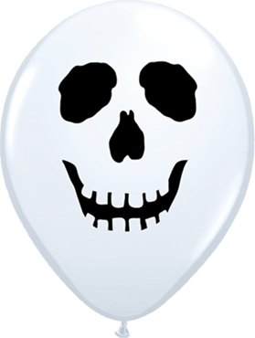 Skull Face Standard White Latex Round 5in/12.5cm