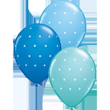 Small Polka Dots Standard Dark Blue, Standard Pale Blue and Fashion Caribbean Blue Assortment Latex Round 11in/27.5cm