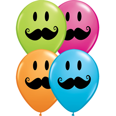 Smile Face Mustache Standard Orange, Fashion Robins Egg Blue, Fashion Wild Berry and Fashion Lime Green Assortment Latex Round 11in/27.5cm