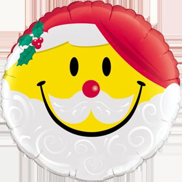 Smile Face Santa Foil Round 18in/45cm
