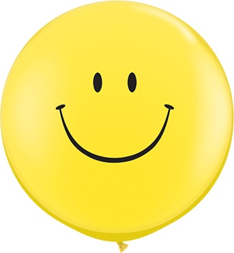 Smile Face Standard Yellow Latex Round 36in/90cm