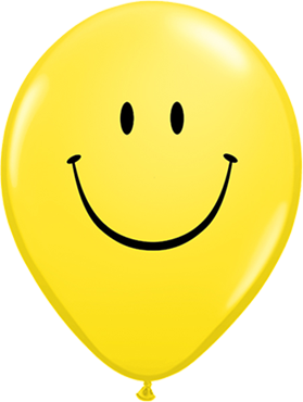 Smile Face Standard Yellow Latex Round 5in/12.5cm