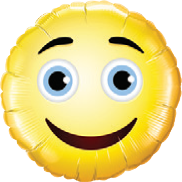 Smiley Face Foil Round 9in/22.5cm