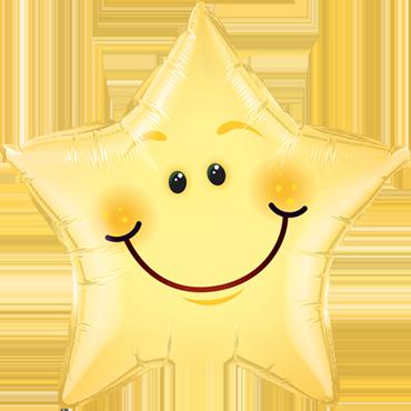 Smiley Face Foil Star 20in/50cm