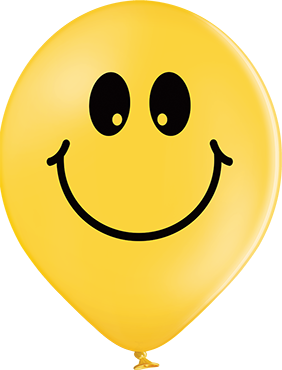 Smiley Pastel Bright Yellow Latex Round 12in/30cm